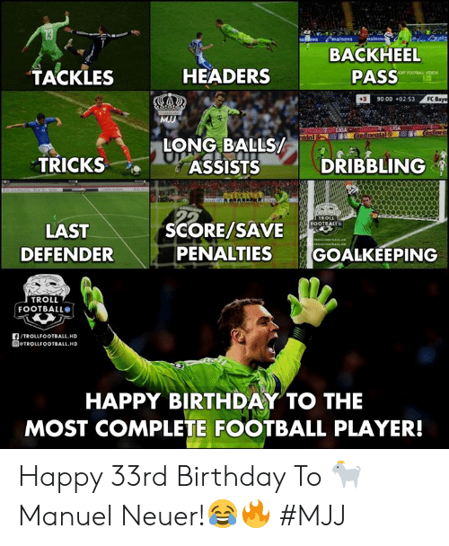 Manuel: BACKHEEL  PASS  TACKLES  HEADERS  390:00 +02:53  FC  LONG BAL  TRICKS  ASSISTSDRIBBLING  SCORE/SAVE  FOOTBALL  LAST  DEFENDER  PENALTIES GOALKEEPING  TROLL  FOOTBALL®  f/TROLLFOOTBALL.HD  回@TROLLFOOTBALL.HD  HAPPY BIRTHDAY TO THE  MOST COMPLETE FOOTBALL PLAYER! Happy 33rd Birthday To 🐐 Manuel Neuer!😂🔥   #MJJ