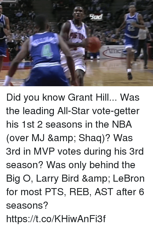 All Star, Bad, and Memes: Bad Did you know Grant Hill...  Was the leading All-Star vote-getter his 1st 2 seasons in the NBA (over MJ & Shaq)?  Was 3rd in MVP votes during his 3rd season?  Was only behind the Big O, Larry Bird & LeBron for most PTS, REB, AST after 6 seasons? https://t.co/KHiwAnFi3f