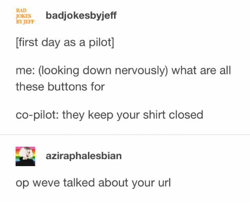 Nervously: BAD  JOKES  BY JEFF  badjokesbyjeff  first day as a pilot]  me: (looking down nervously) what are all  these buttons for  co-pilot: they keep your shirt closed  aziraphalesbian  op weve talked about your url