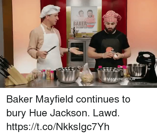Football, Nfl, and Sports: BAKER  D COOPER Baker Mayfield continues to bury Hue Jackson.  Lawd. https://t.co/NkksIgc7Yh