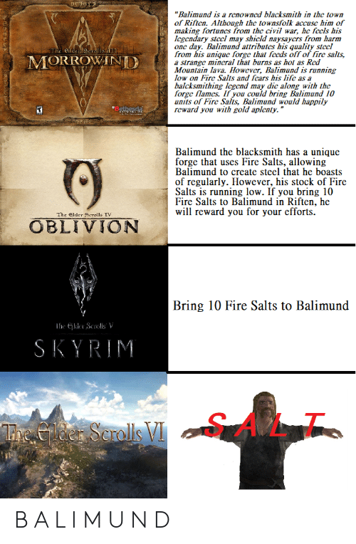 """Fire, Skyrim, and Civil War: """"Balimund is a renowncd blacksmith in the town  of Riften. Although the townsfolk accuse him of  making fortunes from the civil war, he fccls his  Icgendary stccl may shicld naysaycrs from harm  one day. Balimund attributes his quality stecl  from his unique forge that fccds off of fire salts,  a strange mincral that burns as hot as Red  Mountain lava. However, Balimund is running  low on Fire Salts and fcars his lifc as a  balcksmithing Icgend may dic along with the  forge flames. If you could bring Balimund 10  units of Fire Salts, Balimund would happily  reward you with gold aplenty.""""  The e  MORROWANI  Balimund the blacksmith has a unique  forge that uses Fire Salts, allowing  Balimund to create steel that he boasts  of regularly. However, his stock of Fire  Salts is running low. If you bring 10  Fire Salts to Balimund in Riften, he  will reward you for your efforts  The lder Scrolls TV  OBLIVION  Bring 10 Fire Salts to Balimund  SKYRIM  SALT  L1. B A L I M U N D"""