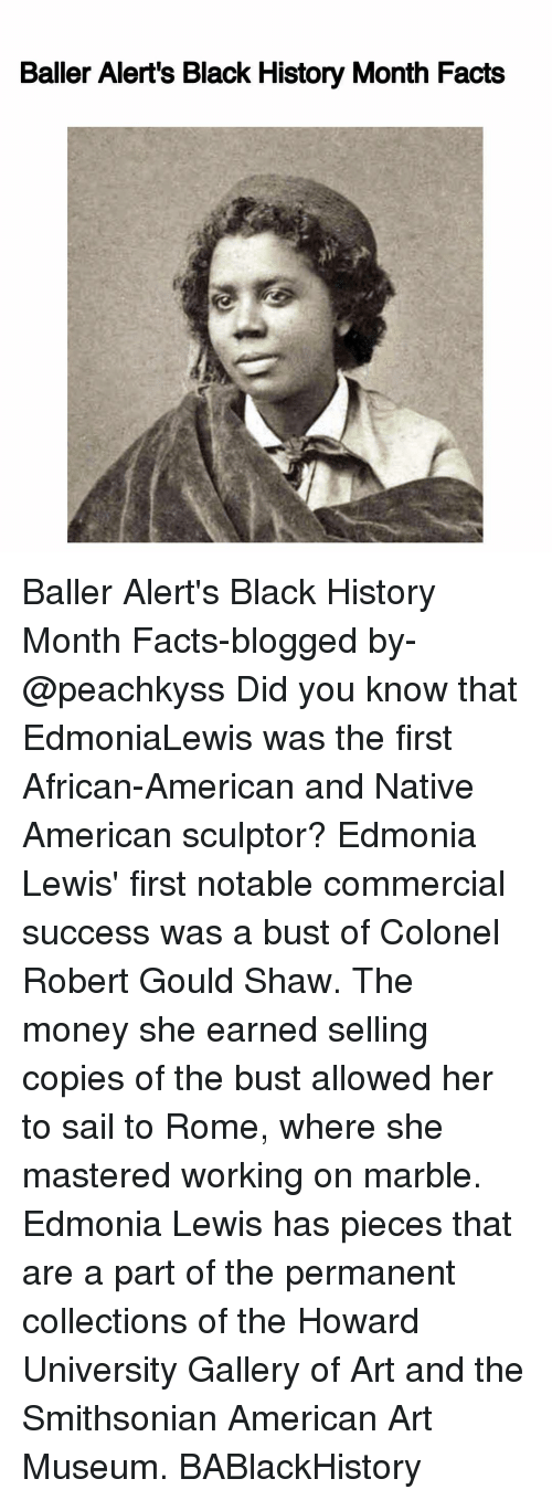 nativism: Baller Alert's Black History Month Facts Baller Alert's Black History Month Facts-blogged by- @peachkyss Did you know that EdmoniaLewis was the first African-American and Native American sculptor? Edmonia Lewis' first notable commercial success was a bust of Colonel Robert Gould Shaw. The money she earned selling copies of the bust allowed her to sail to Rome, where she mastered working on marble. Edmonia Lewis has pieces that are a part of the permanent collections of the Howard University Gallery of Art and the Smithsonian American Art Museum. BABlackHistory