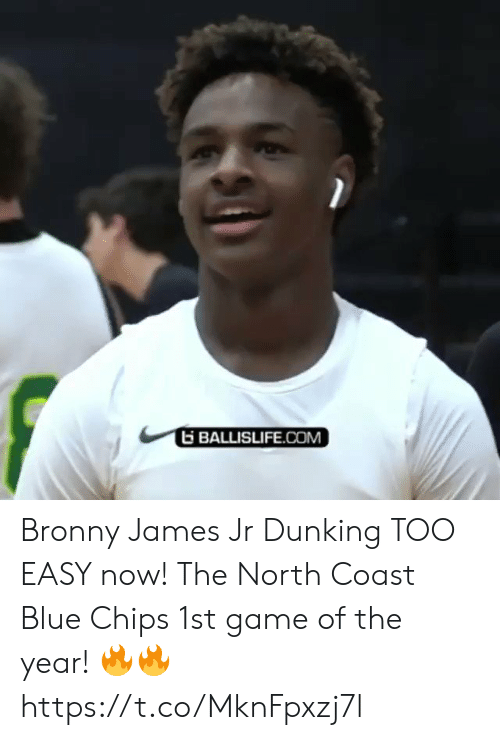 Too Easy: BALLISLIFE.COM Bronny James Jr Dunking TOO EASY now! The North Coast Blue Chips 1st game of the year! 🔥🔥 https://t.co/MknFpxzj7l