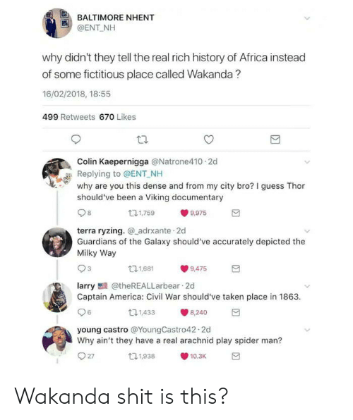 castro: BALTIMORE NHENT  @ENT NH  why didn't they tell the real rich history of Africa instead  of some fictitious place called Wakanda?  16/02/2018, 18:55  499 Retweets 670 Likes  Colin Kaepernigga @Natrone410 2d  Replying to @ENT NH  why are you this dense and from my city bro? I guess Thor  should've been a Viking documentary  131,759  9,975  terra ryzing. adrxante 2d  Guardians of the Galaxy should've accurately depicted the  Milky Way  11,681  9,475  larry@theREALLarbear 2d  Captain America: Civil War should've taken place in 1863  6  11,433  8,240  young castro @YoungCastro42.2d  Why ain't they have a real arachnid play spider man?  27  t1,938  10.3K Wakanda shit is this?