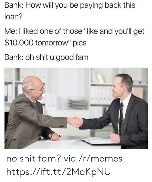 "No Shit: Bank: How will you be paying back this  loan?  Me: I liked one of those ""like and you'll get  $10,000 tomorrow"" pics  Bank: oh shit u good fam no shit fam? via /r/memes https://ift.tt/2MaKpNU"