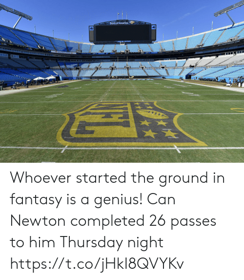 Football, Nfl, and Sports: Bank of Ameriea  www. Whoever started the ground in fantasy is a genius! Can Newton completed 26 passes to him Thursday night https://t.co/jHkI8QVYKv