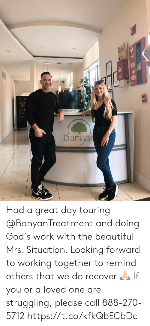 mrs: Banyar Had a great day touring @BanyanTreatment and doing God's work with the beautiful Mrs. Situation. Looking forward to working together to remind others that we do recover 🙏🏼 If you or a loved one are struggling, please call 888-270-5712 https://t.co/kfkQbECbDc
