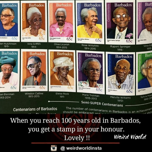 cho: BarbadosBarbadosBarb  Barbados  Barbados  Barbados  fi  en Hutchinson  lona Griffith  1914-  Olive Licorish  Rose Wiltshire  1914-2015  Vera Gib  915-  1915.  Rupert Springer  1916  1914-2015  Barbados  Barbadosll BarbadosB  Barbados  Barbados Barb  0  Winston Catline  1915-2015  Eleise Rock  1911-  an Blenman  913-2014  Marie Trotman  Melville Williams  Sylvia Mau  1905-2013  1910-201  1910  Semi-SUPER Centenarians  The number of centenarians in Barbados is an a  num  Centenarians of Barbados  an achie cho  should be embraced an..  .  When you reach 100 years old in Barbados,  you get a stamp in your honour.  Lovely !!  Weird World  @ weirdworldinsta