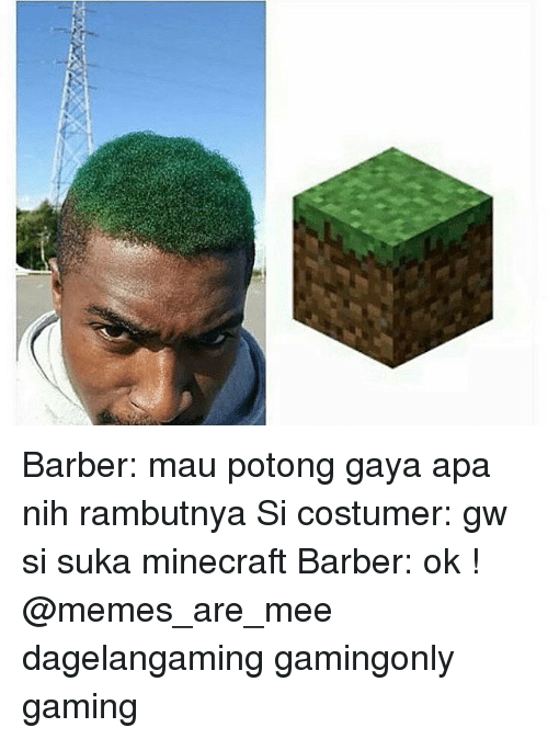 Barber, Memes, and 🤖: Barber: mau potong gaya apa nih rambutnya Si costumer: gw si suka minecraft Barber: ok ! @memes_are_mee dagelangaming gamingonly gaming