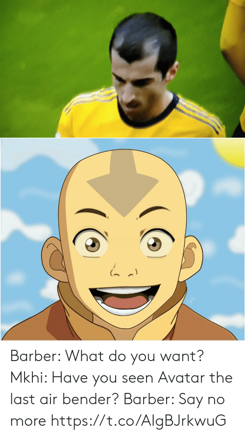Bender: Barber: What do you want?  Mkhi: Have you seen Avatar the last air bender?  Barber: Say no more https://t.co/AIgBJrkwuG