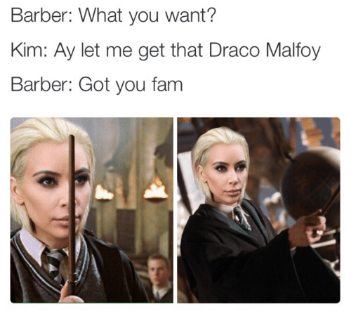 Dank, 🤖, and Draco Malfoy: Barber: What you want?  Kim: Ay let me get that Draco Malfoy  Barber: Got you fam