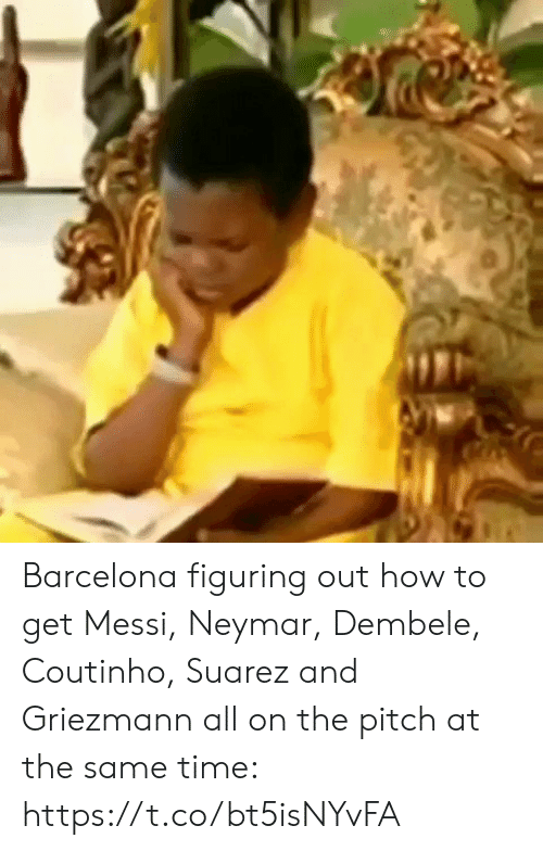 suarez: Barcelona figuring out how to get Messi, Neymar, Dembele, Coutinho, Suarez and Griezmann all on the pitch at the same time:  https://t.co/bt5isNYvFA