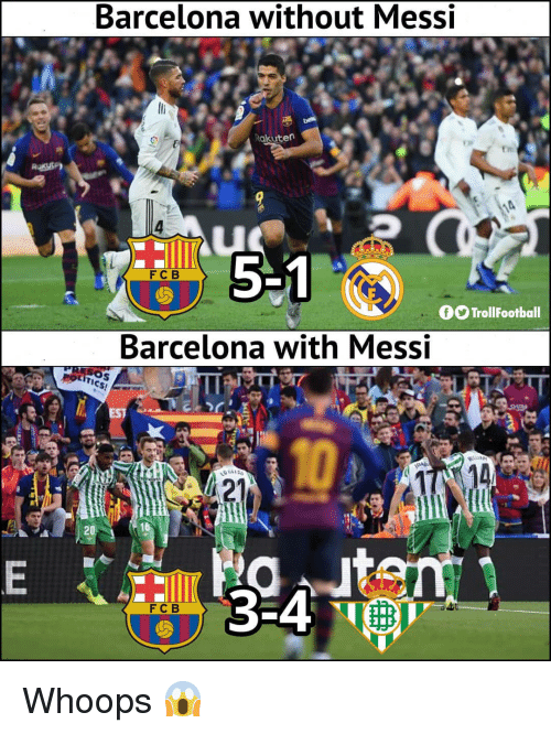 Barcelona, Memes, and Messi: Barcelona without Messi  akuten  5 1  FCB  fOTrollFootball  Barcelona with Messi  Sos  3-4  FCB Whoops 😱