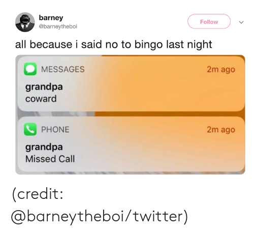 Barney, Dank, and Phone: barney  Follow  @barneytheboi  all because i said no to bingo last night  2m ago  MESSAGES  grandpa  coward  PHONE  2m ago  grandpa  Missed Call (credit: @barneytheboi/twitter)