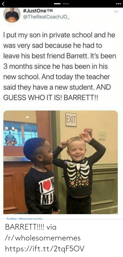 R Wholesomememes: BARRETT!!!! via /r/wholesomememes https://ift.tt/2tqF5OV