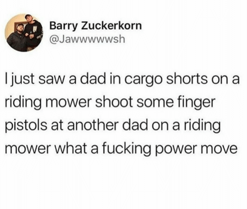 pistols: Barry Zuckerkorn  @Jawwwwwsh  I just saw a dad in cargo shorts on a  riding mower shoot some finger  pistols at another dad on a riding  mower what a fucking power move