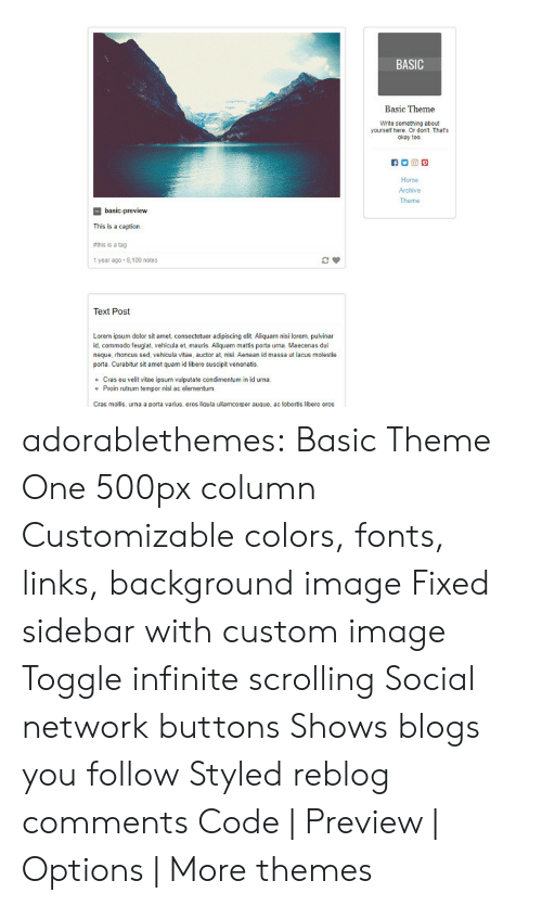 Target, Tumblr, and Blog: BASIC  Basic Theme  Write something abcu  yourself here. Or dont Thats  okay too  口回回  Home  Archive  Theme  basic-preview  This is a caption  ethis is a tag  1 year ago 8,109 notes  Text Post  Lorern ipsum dolor sit amet, consecteuer adipiscing elit Aliquam nisi lorem pulvinar  id, commodo feugiat, vehicula et, mauris. Aliquam mattis porta urna. Maecenas dui  neque, rhoncus sed, vehicula vitae, auctor at, nisi. Aenean id massa ut lacus molestie  amet quam id libero suscipit venenatis  Cras eu velit vitae ipsum vulputate condimentum in id urna  Proin rutrum tempor nisl ac elementum  o  o  Cras mollis, uma a porta varius, eros liqula ullamcorper auque, ac lobortis libero eros adorablethemes: Basic Theme One 500px column Customizable colors, fonts, links, background image Fixed sidebar with custom image Toggle infinite scrolling Social network buttons Shows blogs you follow Styled reblog comments Code | Preview | Options | More themes