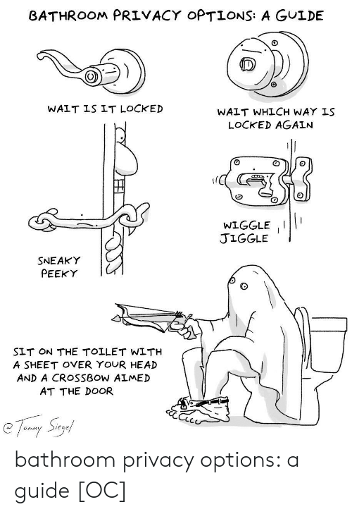 crossbow: BATHROOM PRIVACY OPTIONS: A GULDE  WAIT IS IT LOCKED  WAIT WHLCH WAY IS  LOCKED AGAIN  WIGGLEII  JIGGLE  SNEAKY  PEEKY  SLT ON THE TOLLET WLTH  A SHEET OVER YOUR HEAD  AND A CROSSBOW ALMED  AT THE DOOR  Sieg  Onim bathroom privacy options: a guide [OC]