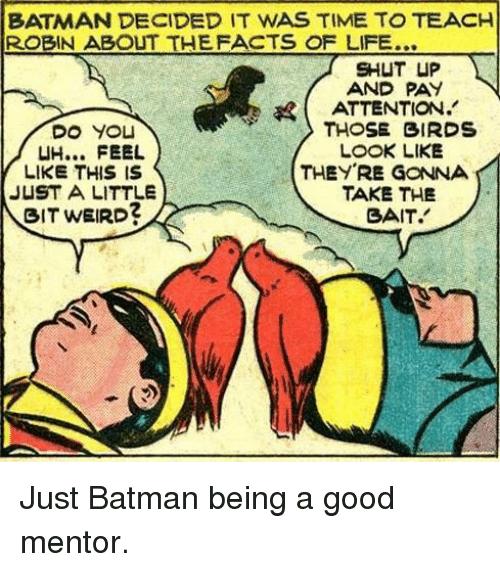 just a little bit: BATMAN DECIDED IT WAS TIME TO TEACH  ROBIN ABOUT THEFACTS OF LIFE...  SHUT UP  AND PAY  ATTENTION.'  THOSE BIRDS  LOOK LIKE  UH... FEEL  LIKE THIS IS  JUST A LITTLE  BIT WEIRD?  THEYRE GONNA  TAKE THE  SAIT. Just Batman being a good mentor.