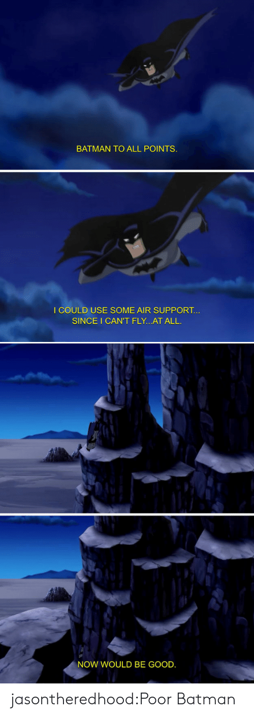 Batman, Target, and Tumblr: BATMAN TO ALL POINTS  I COULD USE SOME AIR SUPPORT.  SINCE I CAN'T FLY...AT ALL  NOW WOULD BE GOOD. jasontheredhood:Poor Batman