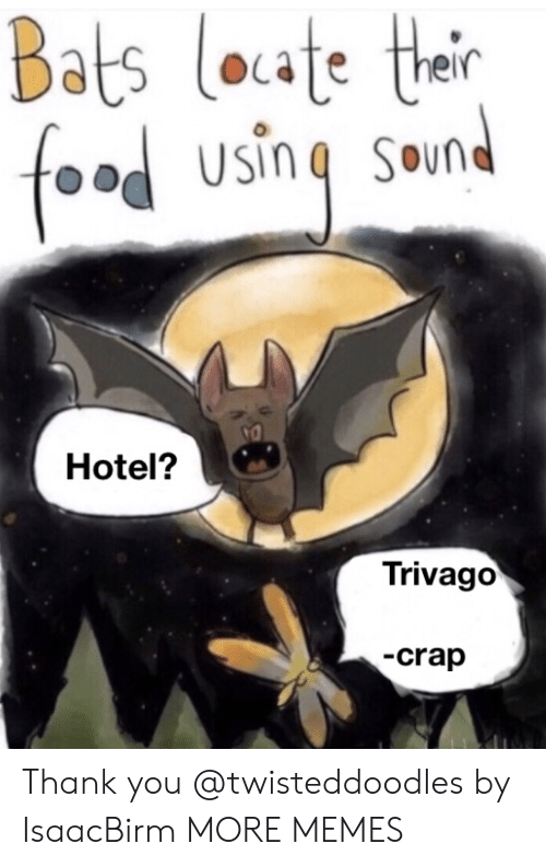 Dank, Memes, and Target: Bats loate their  foad using sound  Hotel?  Trivago  -crap Thank you @twisteddoodles by IsaacBirm MORE MEMES