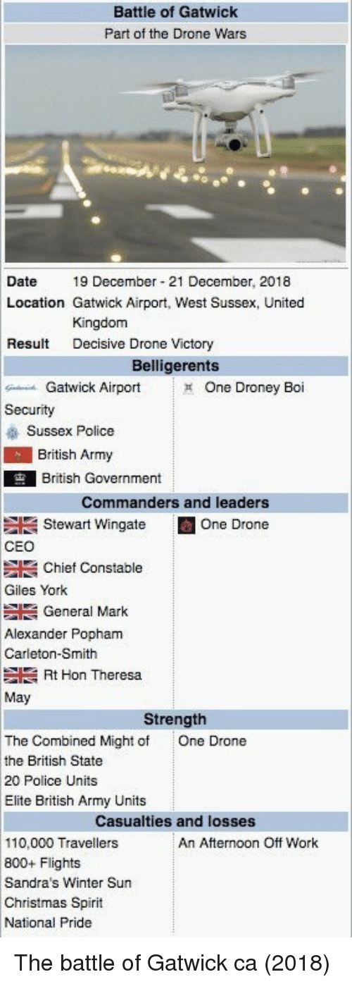 Andrew Bogut, Christmas, and Drone: Battle of Gatwick  Part of the Drone Wars  Date19 December 21 December, 2018  Location Gatwick Airport, West Sussex, United  Kingdom  Decisive Drone Victory  Result  Belligerents  Gatwick Airport  One Droney Boi  Security  Sussex Police  British Army  British Government  Commanders and leaders  Stewart Wingate E One Drone  CEO  Giles York  Alexander Popham  Chief Constable  General Mark  Carleton-Smith  Rt Hon Theresa  May  Strength  The Combined Might of  the British State  20 Police Units  Elite British Army Units  One Drone  Casualties and losses  110,000 Travellers  800+ Flights  Sandra's Winter Sun  Christmas Spirit  National Pride  An Afternoon Off Work The battle of Gatwick ca (2018)