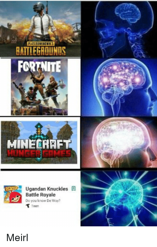 Minecraft, MeIRL, and Battle Royale: BATTLEGROUNDS  FORTNITE  MINECRAFT  HUNGER GRMES  Ugandan Knuckles  Battle Royale  Doyou know  De Way?  Teen Meirl