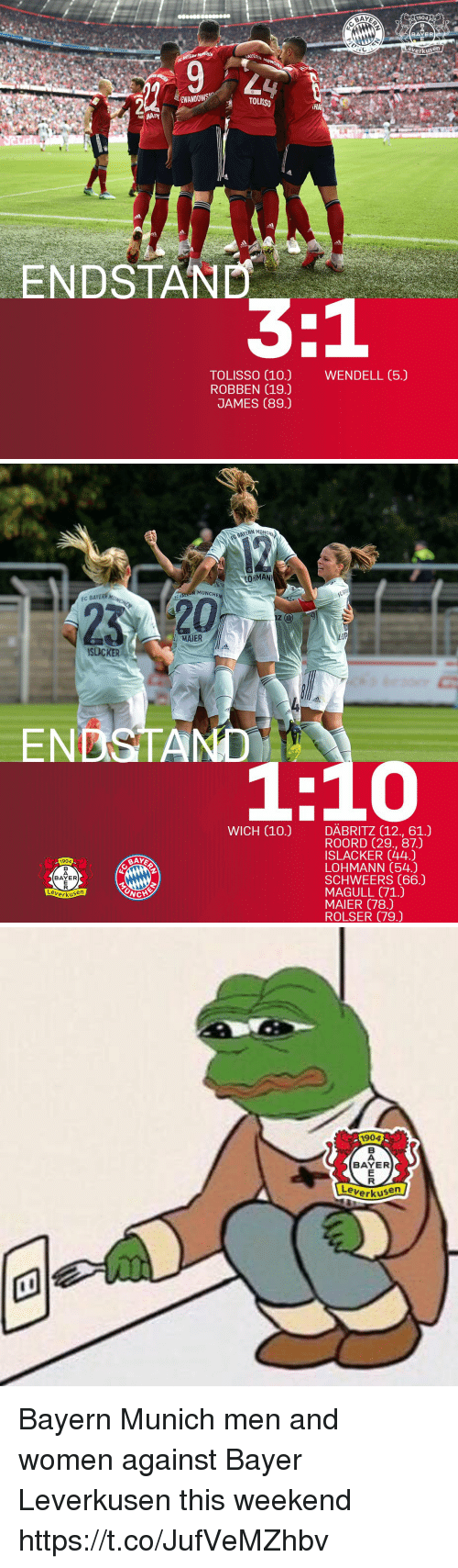 Memes, Women, and Bayer Leverkusen: BAY  1904  BAYER  erkusen  BAVERN  EWANDOWS  TOLISSO  ENDSTAND  TOLISSO (10.)  ROBBEN (19.)  JAMES (89.)  WENDELL (5.)   AYERN MUNCH  MUNCHE  C BAYERN M  12(111)  MAIER  ISLACKER  ENDSTAND  1:10  WICH (10.) DÄBRITZ (12., 61.)  ORODRD 7293, 871  ROORD (29., 87.)  ISLACKER (44.)  LOHMANN (54.)  SCHWEERS (66.)  MAGULL (71.)  MAIER (78.)  ROLSER (79.)  904  BAY  BAYER  erkusen   1904  BAYER  en  Leverkus Bayern Munich men and women against Bayer Leverkusen this weekend https://t.co/JufVeMZhbv