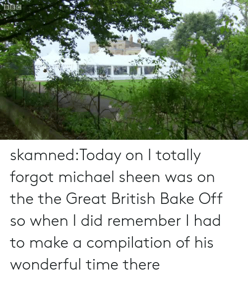 Target, Tumblr, and Blog: BBC skamned:Today on I totally forgot michael sheen was on the the Great British Bake Off so when I did remember I had to make a compilation of his wonderful time there