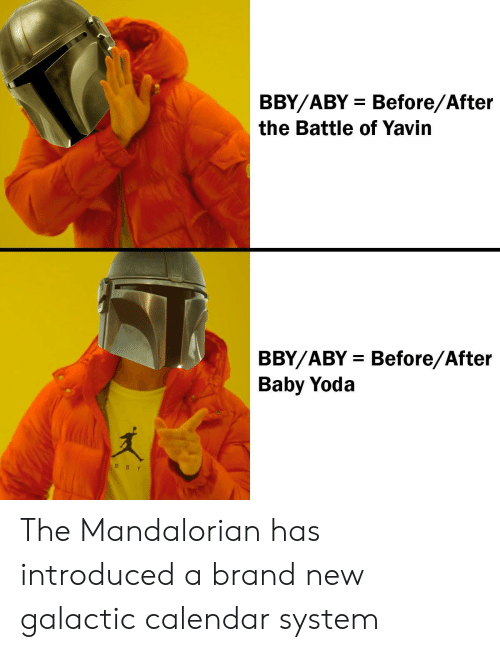 Calendar: BBY/ABY Before/After  the Battle of Yavin  BBY/ABY Before/After  Baby Yoda  B BY The Mandalorian has introduced a brand new galactic calendar system
