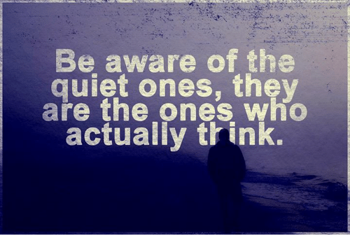 thunk: Be aware of the  quiet ones, they  are the ones who  actually thunk.