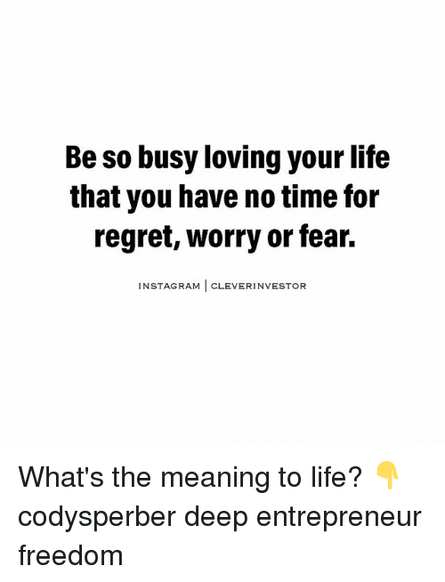 Freedomed: Be so busy loving your life  that you have notime for  regret, worry or fear.  NSTAGRAM  CLEVER INVESTOR What's the meaning to life? 👇 codysperber deep entrepreneur freedom