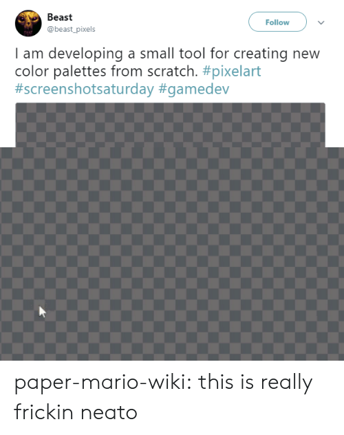 Pixels: Beast  @beast_pixels  Follow  I am developing a small tool for creating new  color palettes from scratch. paper-mario-wiki:  this is really frickin neato