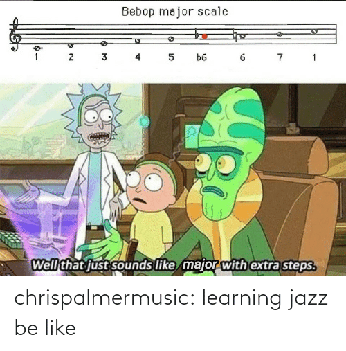 extra: Bebop major scale  3 4  7 1  1  5  b6  Well that just sounds like major with extra steps. chrispalmermusic:  learning jazz be like