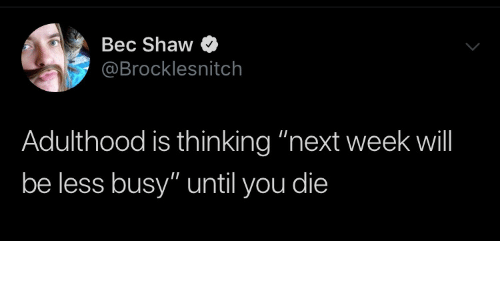 "Until You: Bec Shaw  @Brocklesnitch  Adulthood is thinking ""next week will  be less busy"" until you die"