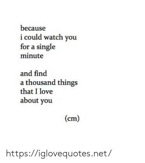 Things That: because  i could watch you  for a single  minute  and find  a thousand things  that I love  about you  (cm) https://iglovequotes.net/