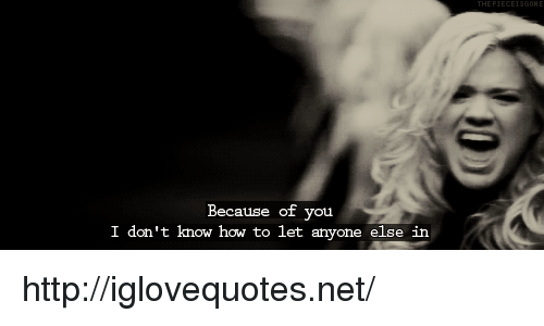 How To, Http, and Because of You: Because of you  I don't know how to let anyone else in http://iglovequotes.net/