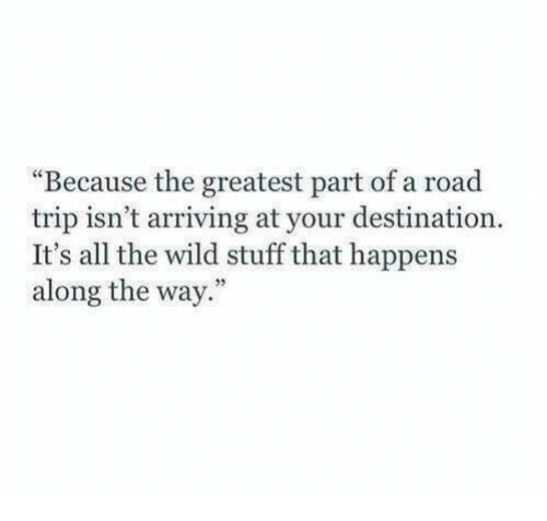 """road trip: """"Because the greatest part of a road  trip isn't arriving at your destination.  It's all the wild stuff that happens  along the way."""""""