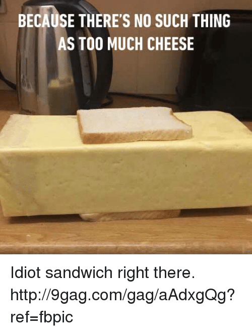Idiot Sandwich: BECAUSE THERE'S NO SUCH THING  AS TOO MUCH CHEESE Idiot sandwich right there.  http://9gag.com/gag/aAdxgQg?ref=fbpic