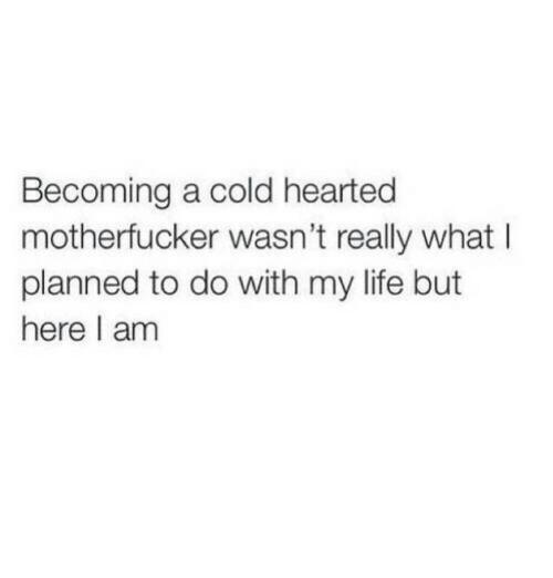 Life, Cold, and What: Becoming a cold hearted  motherfucker wasn't really what I  planned to do with my life but  here I am