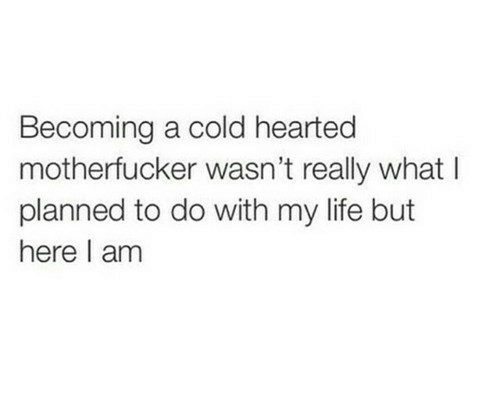 A Cold: Becoming a cold hearted  motherfucker wasn't really what l  planned to do with my life but  here I am