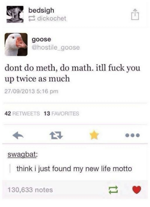 Mething: bedsigh  dick ochet  goose  @hostile goose  dont do meth, do math. itll fuck you  up twice as much  27/09/2013 5:16 pm  42  RETWEETS 13  FAVORITES  swagbat:  think i just found my new life motto  130,633 notes