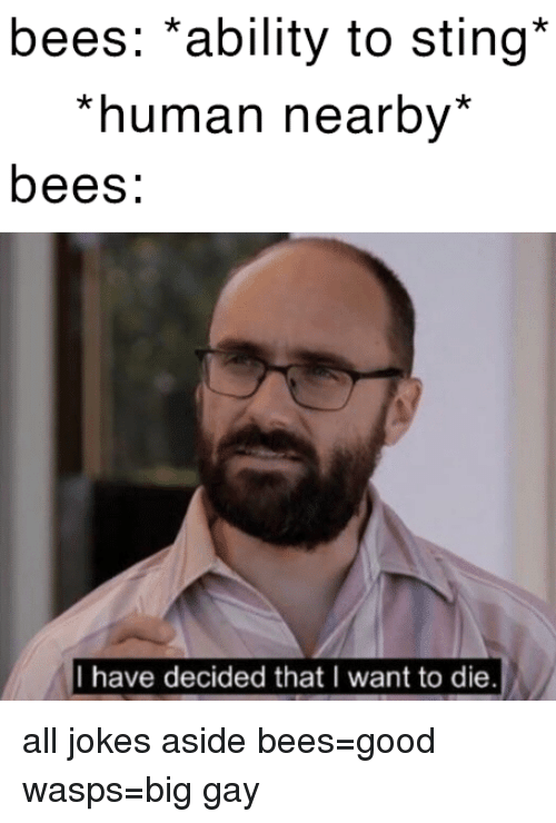 i want to die: bees: *ability to sting*  *human nearby*  bees:  I have decided that I want to die all jokes aside bees=good  wasps=big gay