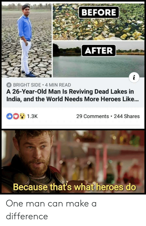before after: BEFORE  AFTER  BRIGHT SIDE 4 MIN READ  A 26-Year-Old Man Is Reviving Dead Lakes in  India, and the World Needs More Heroes Like...  1.3K  29 Comments 244 Shares  Because that's what heroes do One man can make a difference