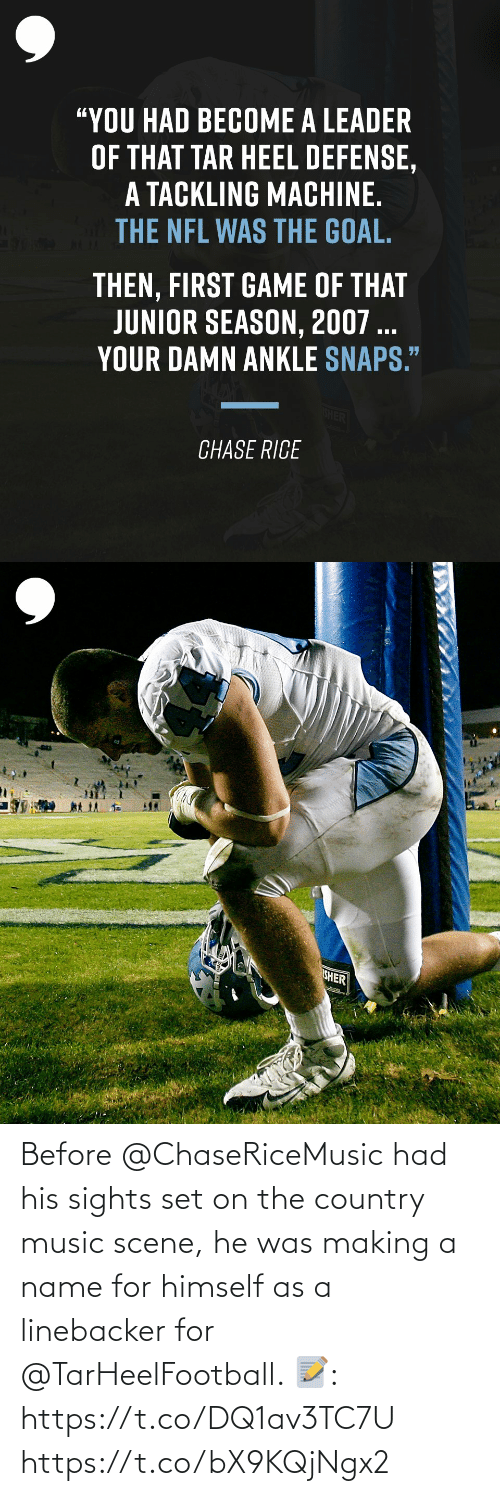 making a: Before @ChaseRiceMusic had his sights set on the country music scene, he was making a name for himself as a linebacker for @TarHeelFootball.   📝:  https://t.co/DQ1av3TC7U https://t.co/bX9KQjNgx2