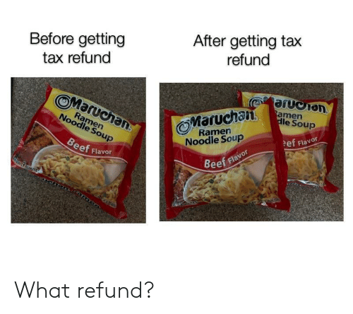 Noodle: Before getting  tax refund  After getting tax  refund  0%  OMaruchan  Maruchan  le Soup  Ramern  Noodle Soup  Ramern  Noodle Soup  ef Flavor  eef Flavor  Beef flavor What refund?