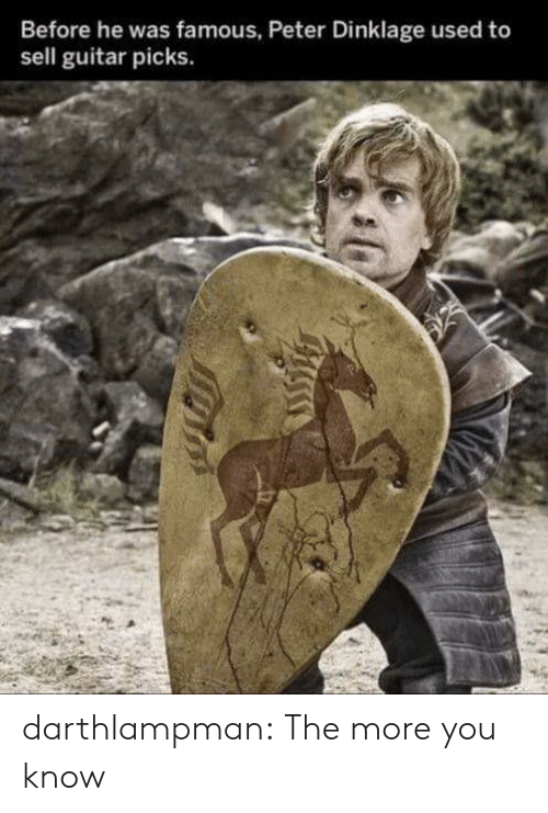 The More You Know, Tumblr, and Blog: Before he was famous, Peter Dinklage used to  sell guitar picks. darthlampman:  The more you know