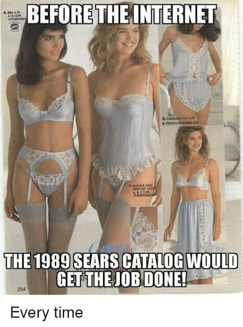 Internet, Sears, and Time: BEFORE THE INTERNET  A BRA 499  A CUPS  UNDERWE  D.  CAMSOLE TOP 599  C. BASQUE AND  BREF SET la  A B CCUPS  THE 1989 SEARS CATALOG WOULD  GET THEJOB DONE  OB DONE!  254 Every time