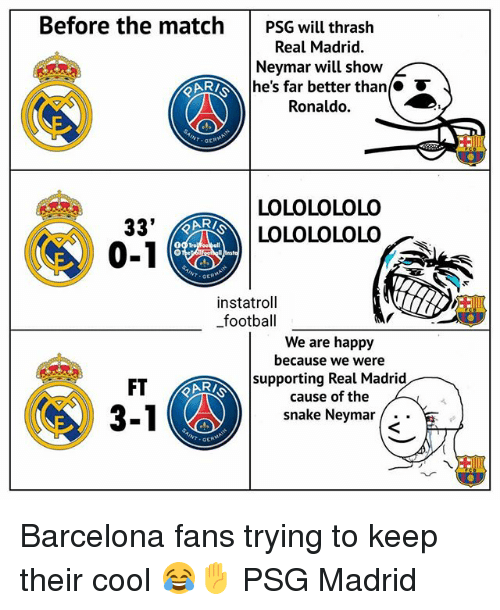 Barcelona, Football, and Memes: Before the match  PSG will thraslh  Real Madrid.  Nevmar will show  he's far better than  Ronaldo.  LOLOLOLOLO  LOLOLOLOLO  33'  0-1  ARI  GE  instatrol  football  We are happy  because we were  supporting Real Madrid  cause of the  snake Neymar .  FT Barcelona fans trying to keep their cool 😂✋ PSG Madrid