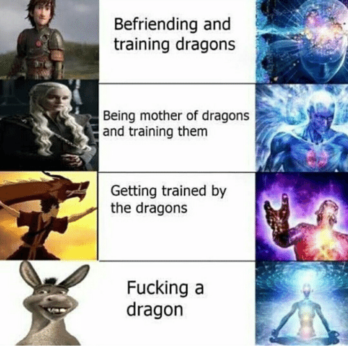 Fucking, Dragons, and Dragon: Befriending and  training dragons  Being mother of dragons  and training them  Getting trained by  the dragons  Fucking a  dragon